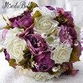 Romantic 2016 Pink Artificial Flower Wedding Bouquet Purple White Rose Pearl Cheap Bridal Bouquet Accessories ramo novia bouquet