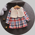 Spring Autumn Baby Girls T-shirt 2016 High Quality Cotton Long Sleeve Plaid Patchwork Lolita Style Top Toddler Princess Shirt