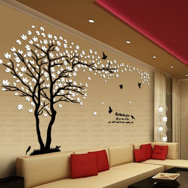 online shop new arrival crystal acrylic diy 3d wall stickers red