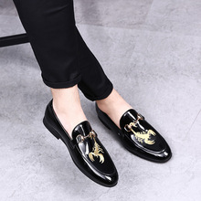 New RUIDENG men party Dress shoes red bottom breathable fashion wedding casual Patent Leather Male Casual Flats high quality
