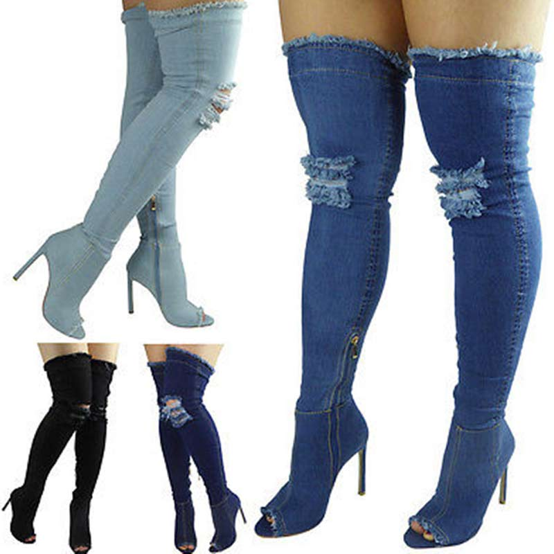 Mode Bleu Trou Jeans sexy Bottes À Talons Hauts Sur Le Genou 2017 Stretch Bottes À Bout Ouvert Denim Cuisse Bottes