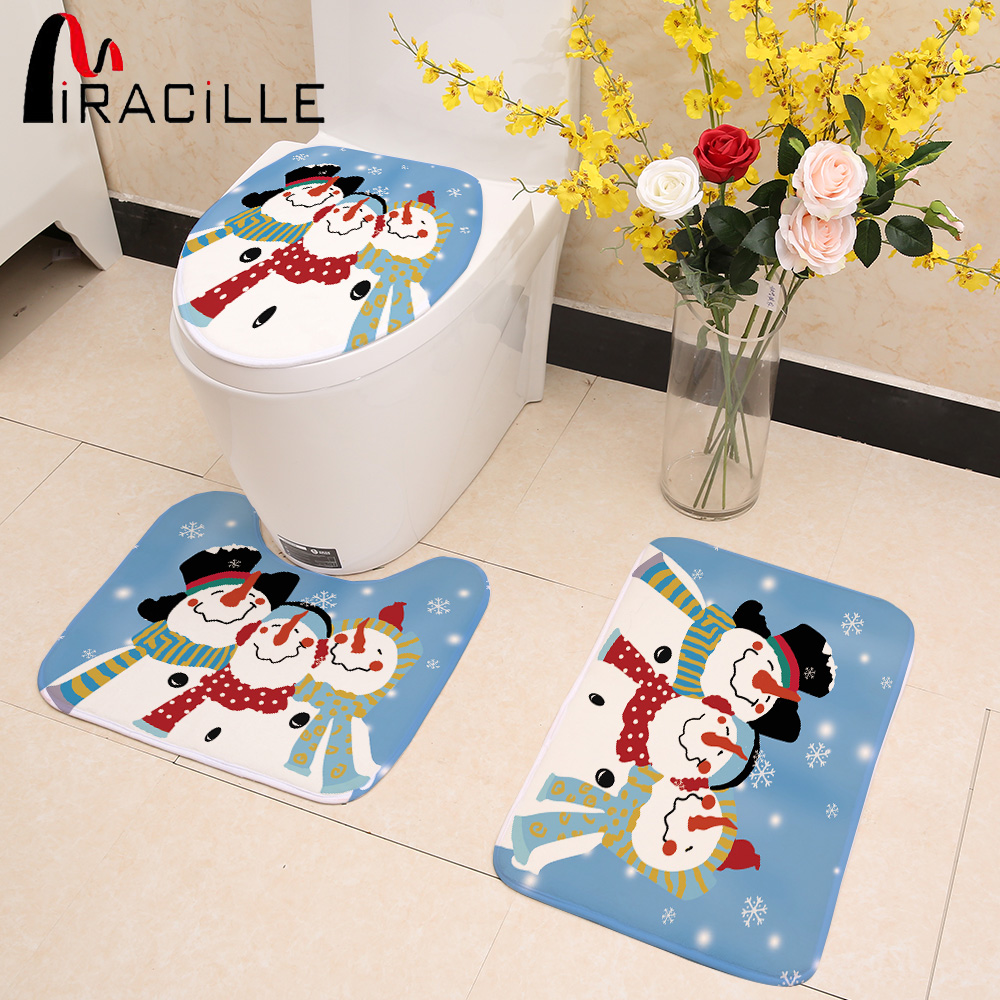 Miracille Snowman Printed Warmer Rug Toilet Seat Cover Merry Christmas Bathroom Mat Set 3pcs Decorations for Home New Year Decor