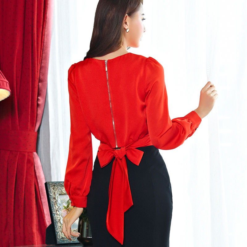 Women's Elegant Sexy Crop Tops Women Chiffon   Blouses     Shirts   Female Bows Bandage Red Chiffon   Shirt   For Women Tops Office Wear