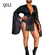 QILI Black Sequin Women Dress Sexy V Neck Flare Long Sleeve Tassel Mini Dresses Striped Sequined Asymmetrical Dress S-XXL free free fire and water lp