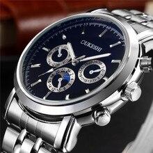 Модные oukeshi бренд мужской бизнес серебряные часы из нержавеющей стали повседневные мужские Водонепроницаемый кварцевые наручные часы Relogio Masculino