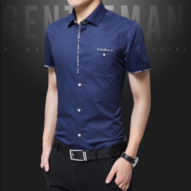 43a529d9993 Plus Size 5XL 2019 Summer New Korean Style Men Short Sleeve Shirt Fashion  Solid Color Slim
