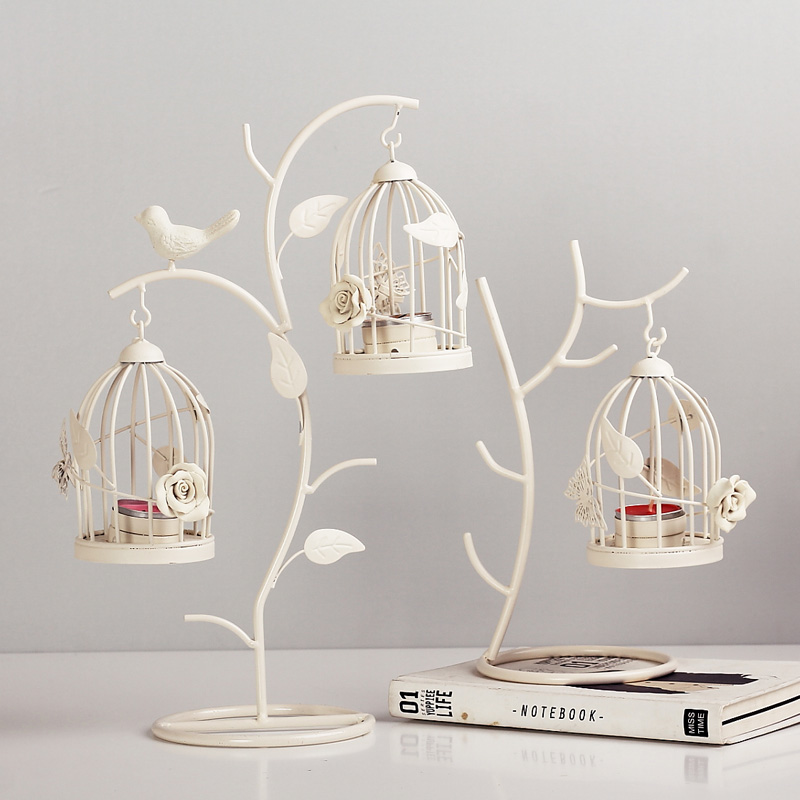 Home Décor Candlesticks Hollow Candle Stand Lantern Candlestick Glass Holder Bird Cage Home Decor Gifts
