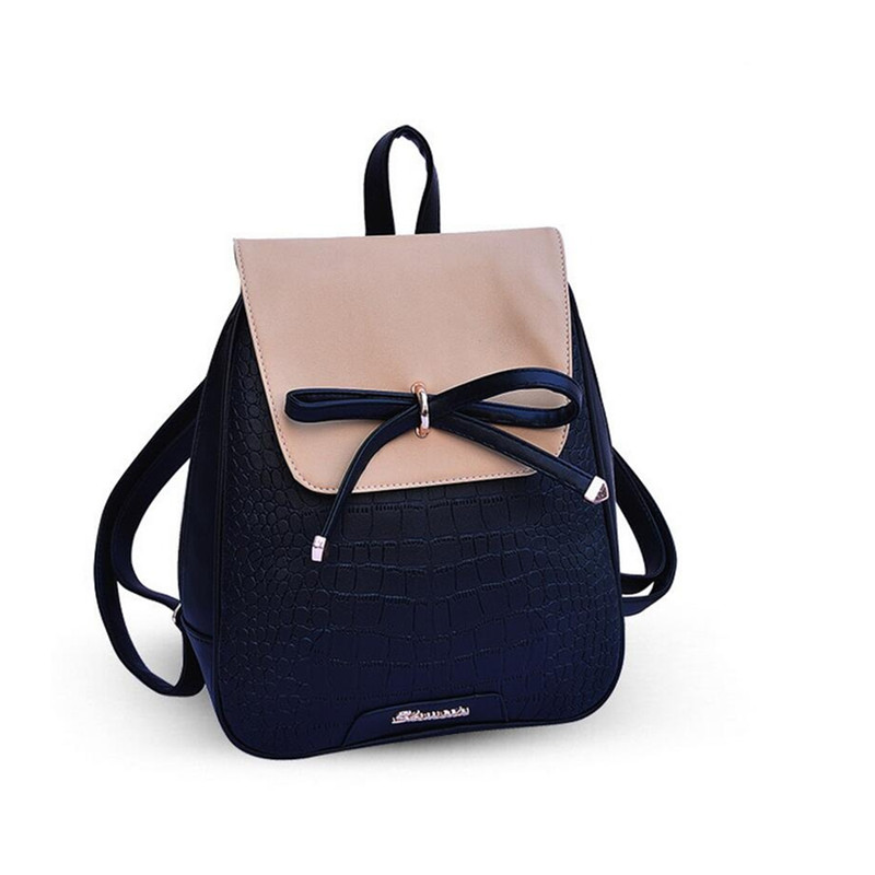 2016 Women Backpacks bow Brand pu leather Backpack travel Bags girls school bag for teenagers