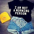 Tees new man cotton funny punk letter printed short sleeve I AM NOT A MORNING PERSON casual couple's lover's t-shirts
