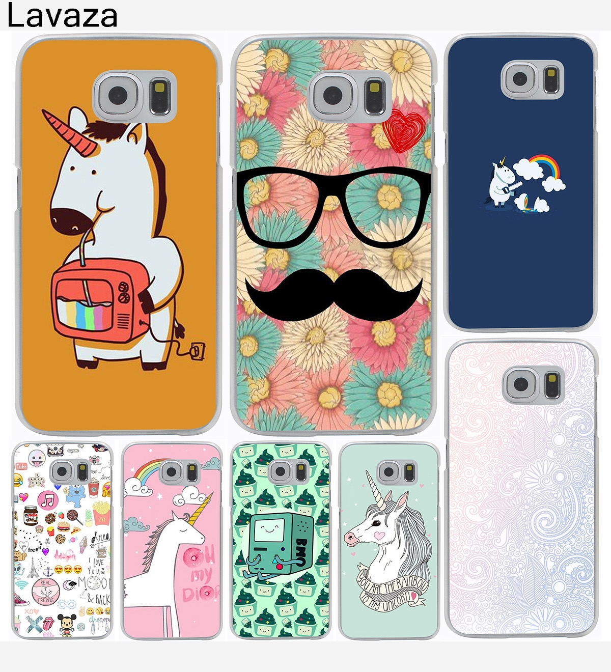 Unicorn Saw Clouds Rainbow Funny Hard Cover Case for Galaxy S3 S4 S5 & Mini S6 S7 S8 Edge Plus