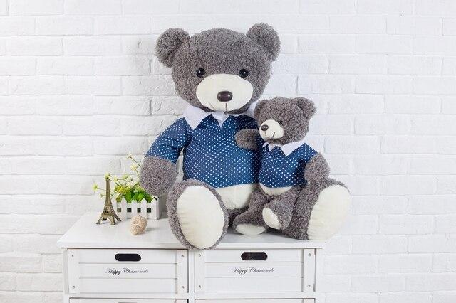 Adorable oso de peluche de felpa gris de piel de peluche de juguete de White Spot azul Tee regalo de los cabritos 45 cm / 55 cm de altura