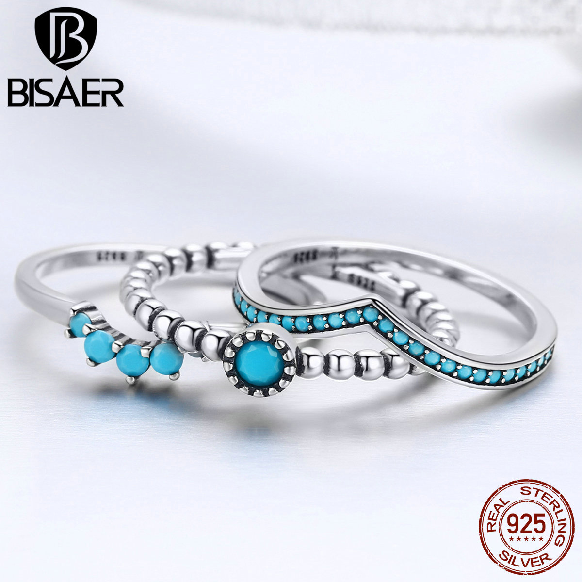 11.11 Silver 3 PCS Silver Ring 925 Sterling Silver Blue CZ Bohemia Wave Ring Eye Finger Ring For Women Ring Sets GXR368 vintage rhinestone hollowed wave ring for women