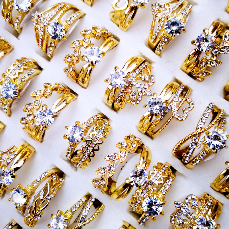 10Pcs Women's Rings New Design Mixed Styles Gold and SilverZircon Wholesale Rings Lots Female Jewelry Bulks Lot LR4161 title=