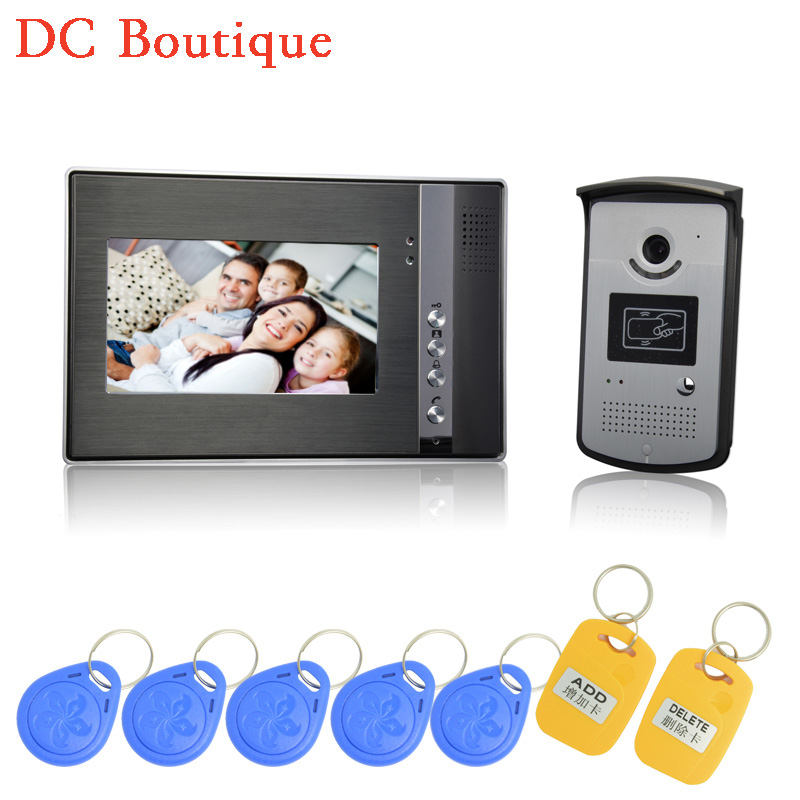 (1 set) 7 inch One to One Video Door Phone Color Display Door Access control system Use RFID card unlock release high definition 1 set hd 7 inch colorful display aluminium case one to one video door phone system rfid card unlock wired intercom camera