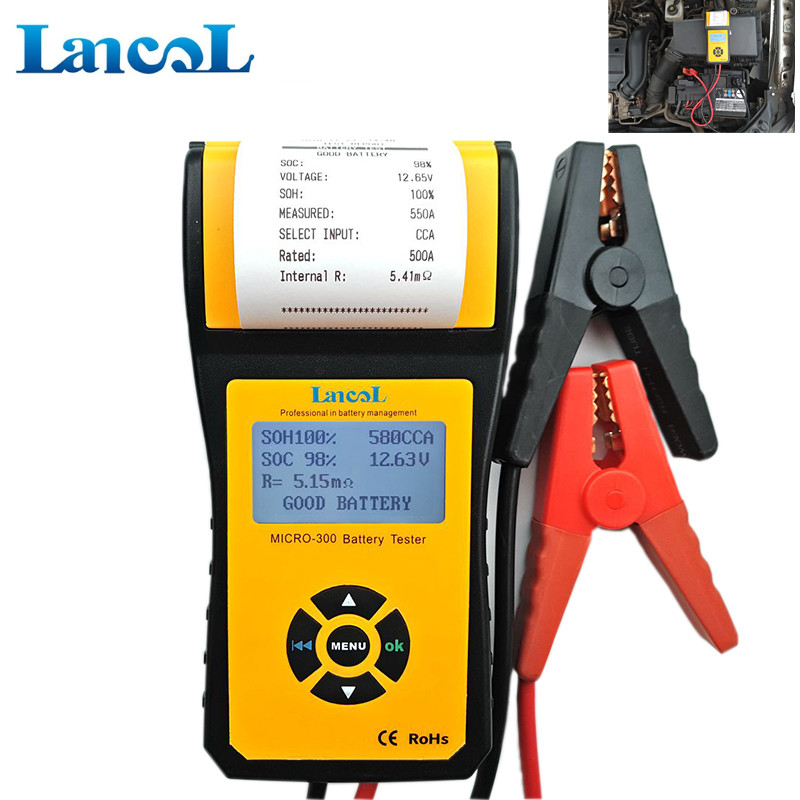 Digital Battery Life Tester Analyzer 12v with Printer for CCA Load Battery Testing MICRO-300 digital car battery load tester with printer micro 300 2000cca 200ah 12v car diagnostic tool battery capacity checker