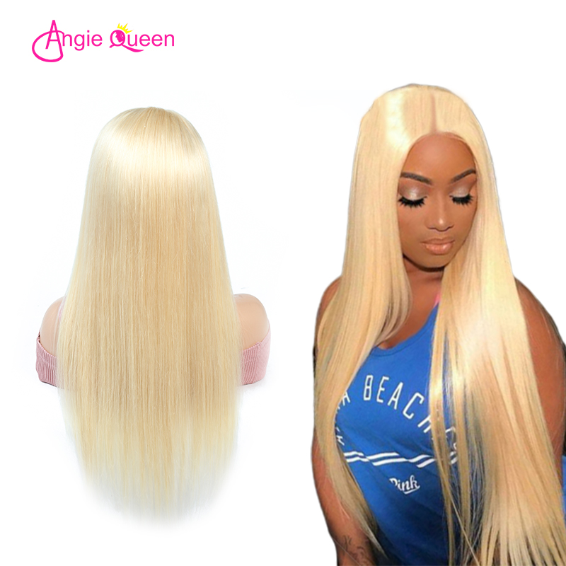 ANGIE QUEEN Blonde Lace Front Wig Malaysian Straight Remy Human Hair Wigs Lace Front Wig 150 Density 613 Lace Front Wig(China)