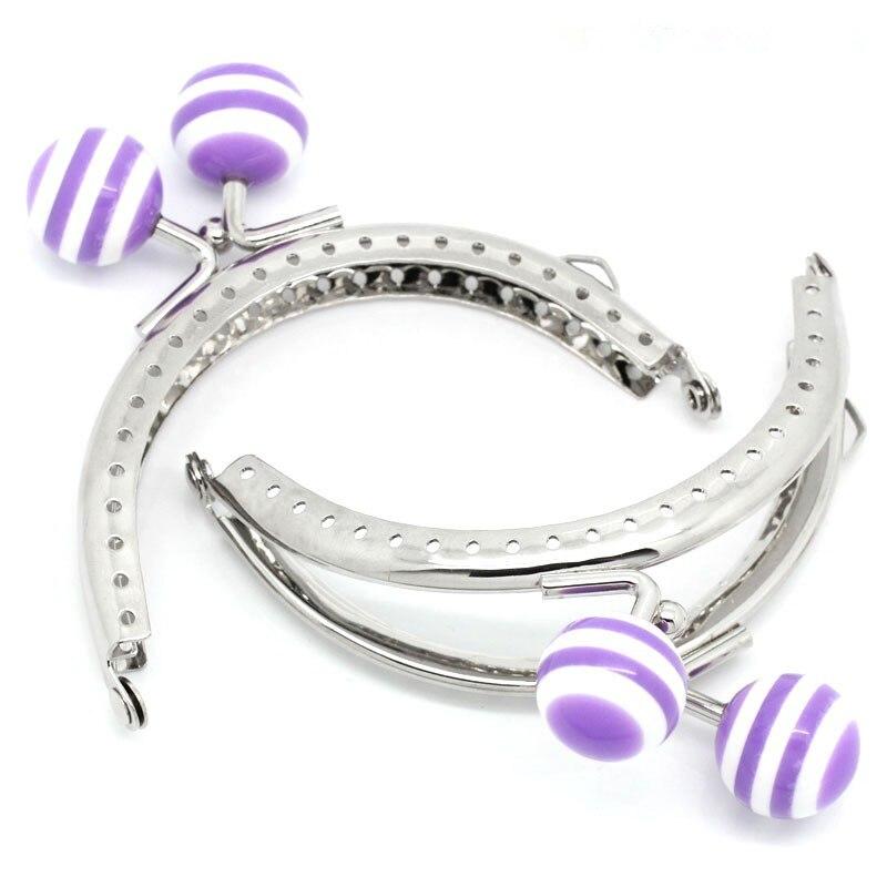 ツ)_/¯10 piezas Tono de plata púrpura blanco rayas resina bola arco ...