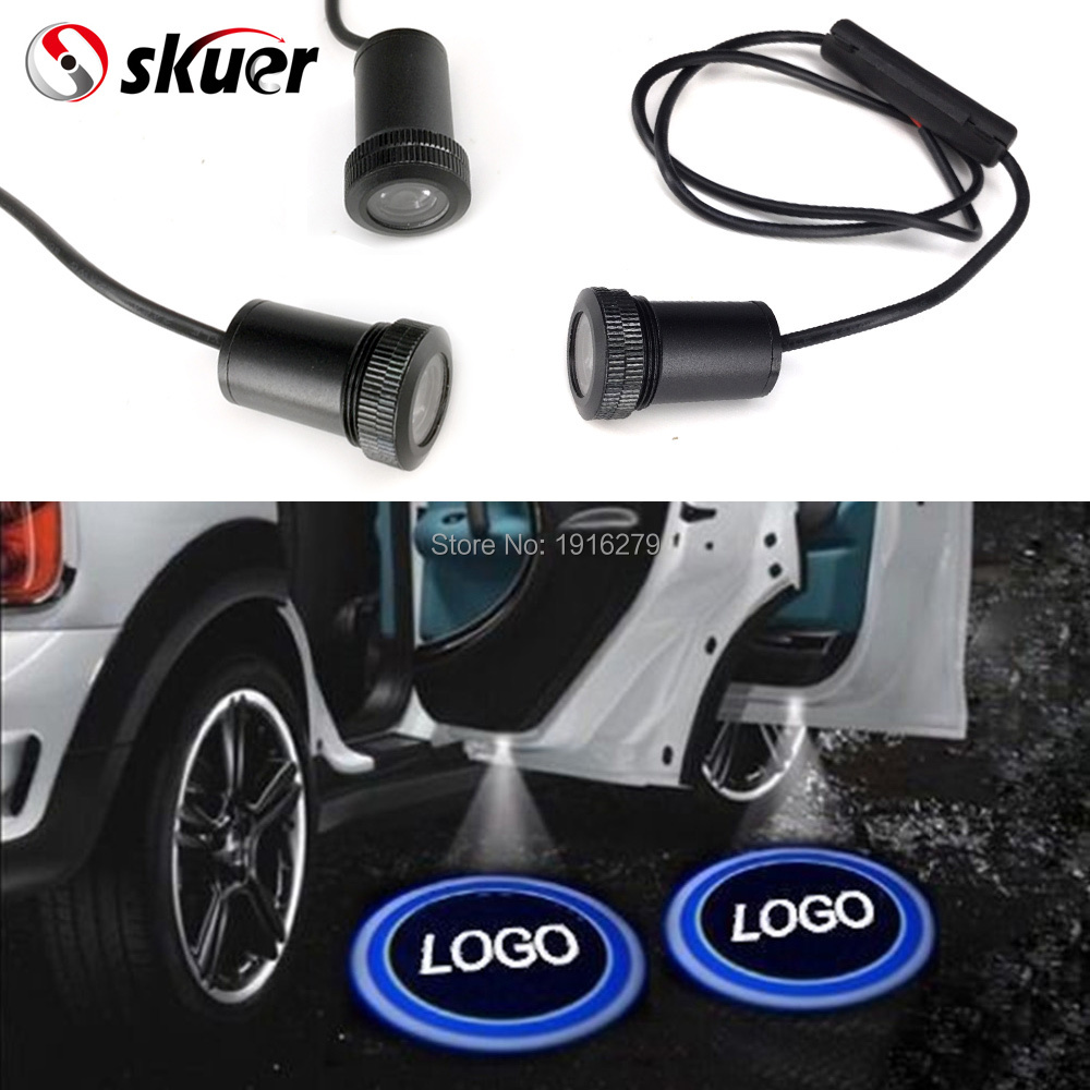 1 pair Car Door LED Welcome Logo Laser Projector Ghost Shadow Light For Toyota Skoda Alfa Opel Hyundai Mazda Lada VW Benz Harley for skoda octavia led 3w welcome car door logo lights projector laser ghost 3d shadow accessories original door light replace