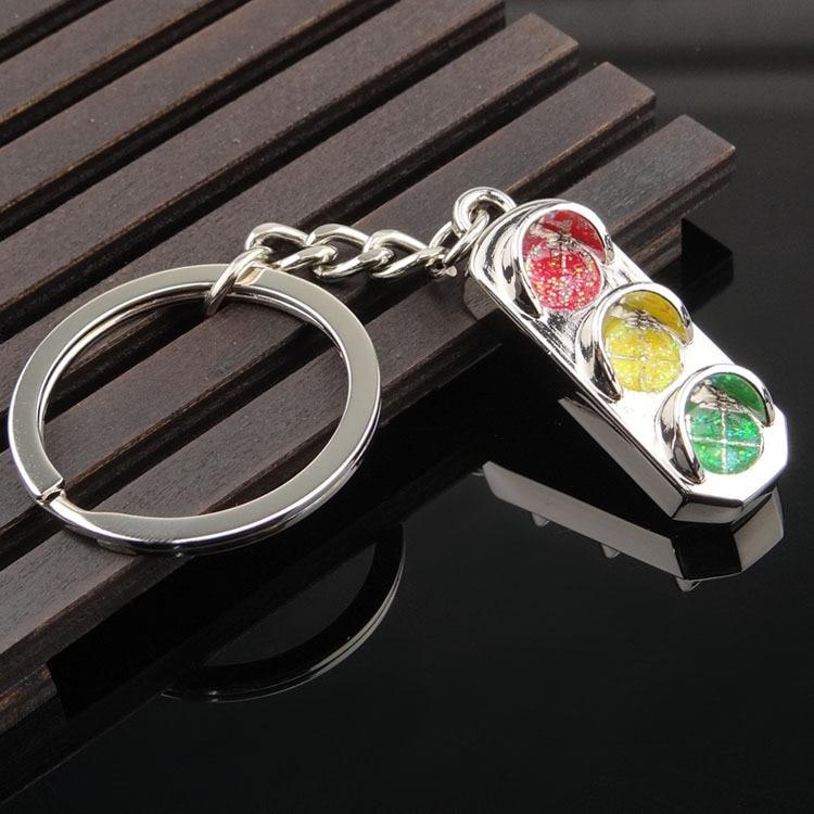 Traffic Light Key Chain Ring for Honda Ford Focus 2 3 4 BMW Adui Mercedes-Benz 3D Metal Zinc Alloy Cute Gift