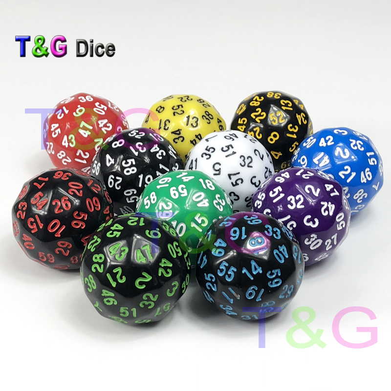6pcs Polyhedral Dice D60 Party Game Toy Dungeons /& Dragons Casino Supplies