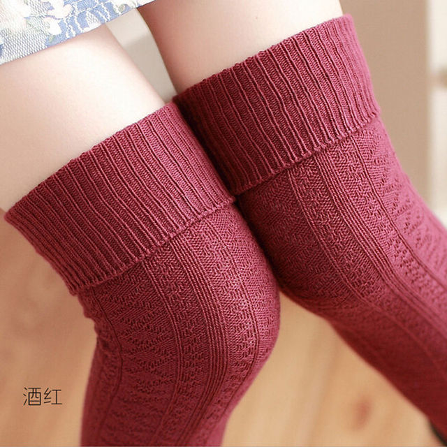 66d42d6c6 Stockings 7 Colors Fashion Women s Stockings Sexy Warm Thigh High Over The  Knee Socks Long Cotton Stockings Girls Ladies Women
