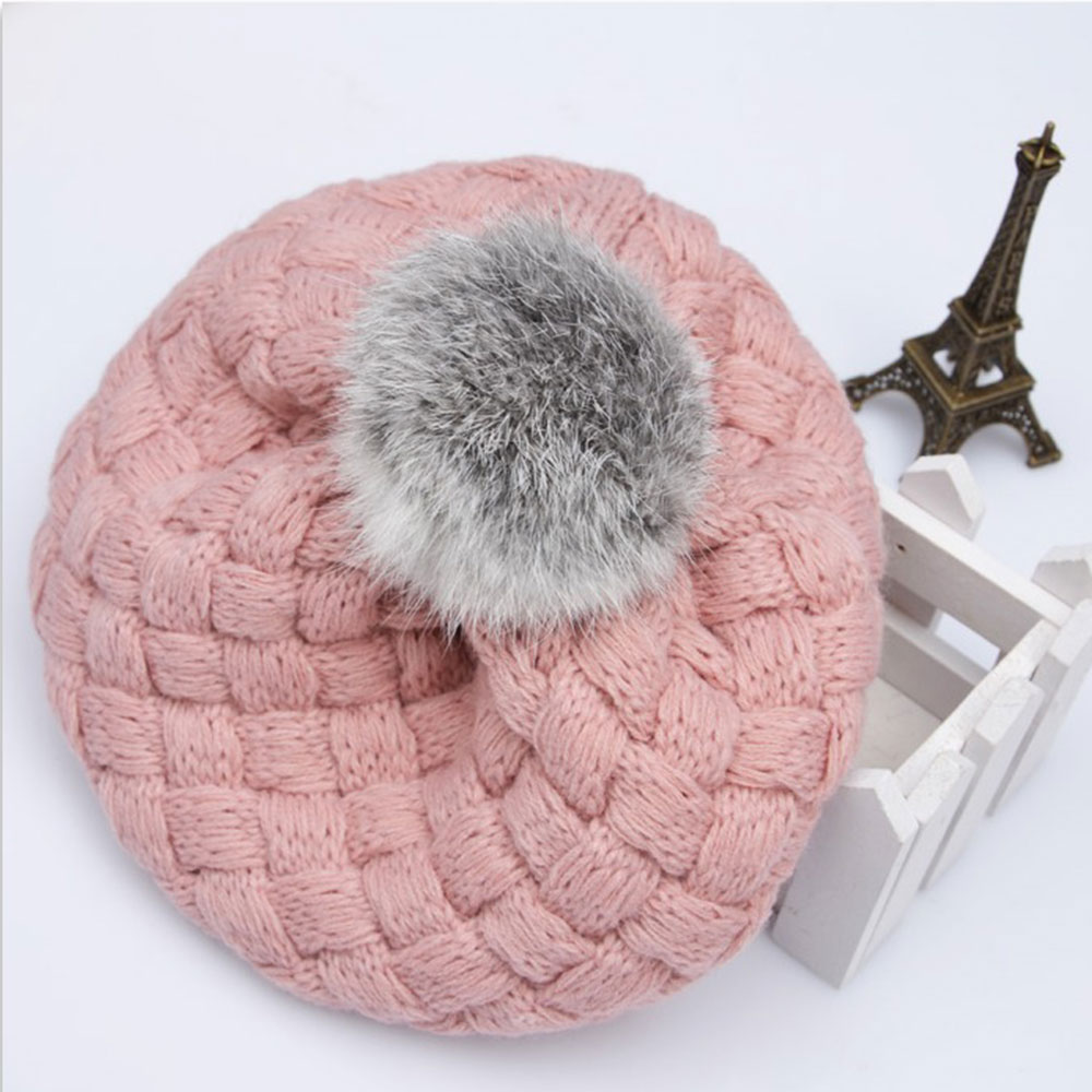 076cfc44f60 Real Rabbit Fur Knitted Baby Caps Cute Baby Photography Props Soft Plaited  Baby Hat Baby Girl Crochet Beanie Toddler Cap-in Hats   Caps from Mother    Kids ...