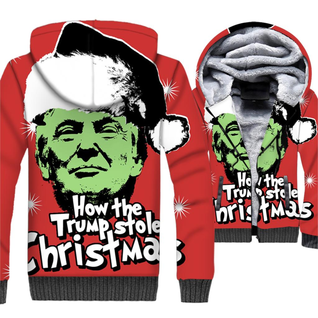 Christmas & President Trump Printed Funny Men's 3D Hoodies New Arrival 2019 Autumn Winter Warm Fleece Jackets Men Sweatshirts