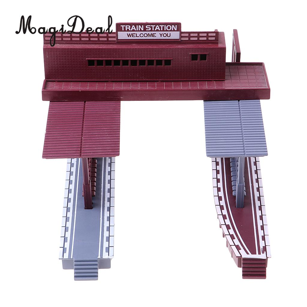 MagiDeal 1:87 Scale Train Station Simulation Layout HO Gauge Building Model Diorama For Train Track Landscape Children Toy