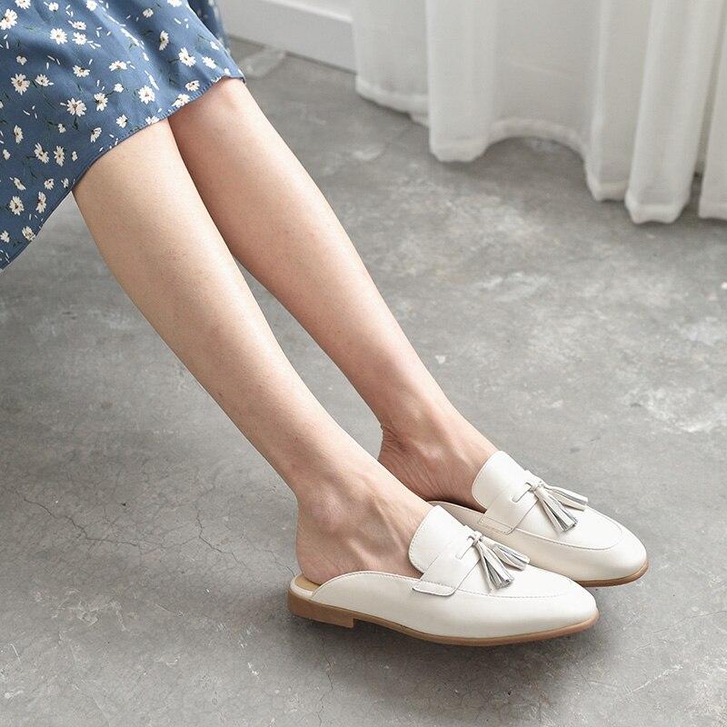BeauToday البغال أحذية النساء جلد طبيعي جولة اصبع القدم جديد موضة عودة فتح جلد العجل العلوي مع هامش الديكور 35037-في أحذية نسائية مسطحة من أحذية على  مجموعة 3