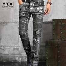 New Top Quality Spring New Fashion Mens Punk slim leather pants Slim Fit long mid waist