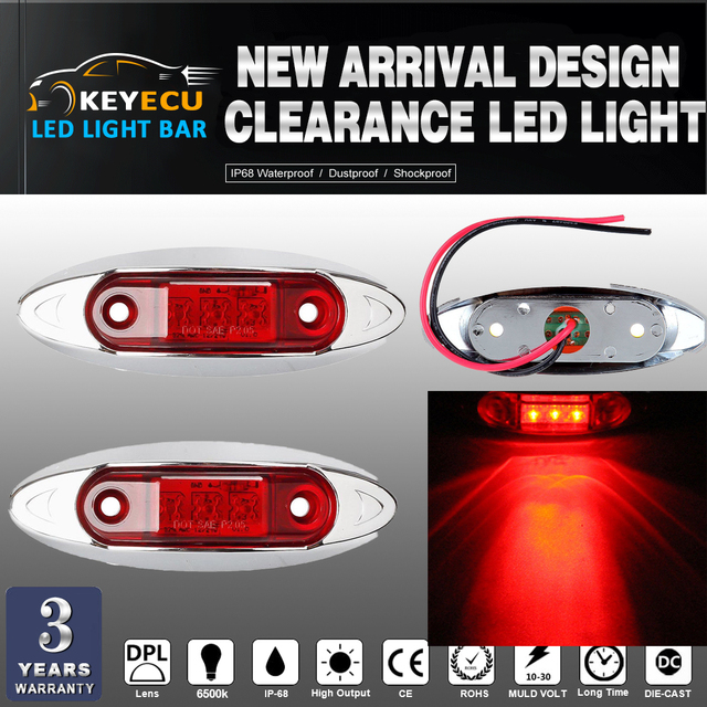 KEYECU 2PCS RED Universal LED Side Clearance Markers lights for