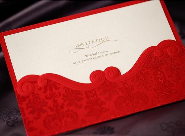 Luxurious customized red wedding party invitation card with envelope luxurious customized red wedding party invitation card with envelope engagement invitations card kit 100pcs stopboris Image collections