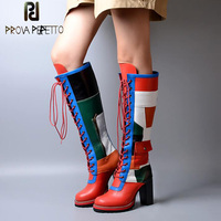 Prova Perfetto Winter Autumn Knee High Boots Platform Round Toe Front Cross Tied Women Shoes Cow Leather Mixed Color Long Boots