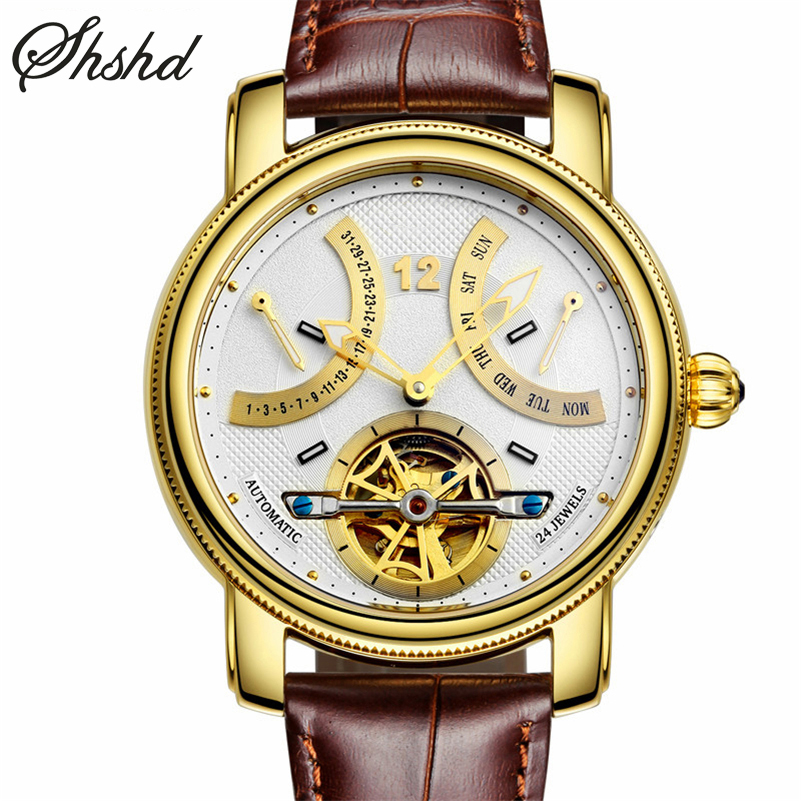 top brand luxury gold auto self wind mechanical