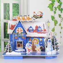 4pcs/set Christmas Decoration For Home 3D Hard Paper Christmas House DIY Puzzle Toys Puzzle Children Adult Christmas Gift