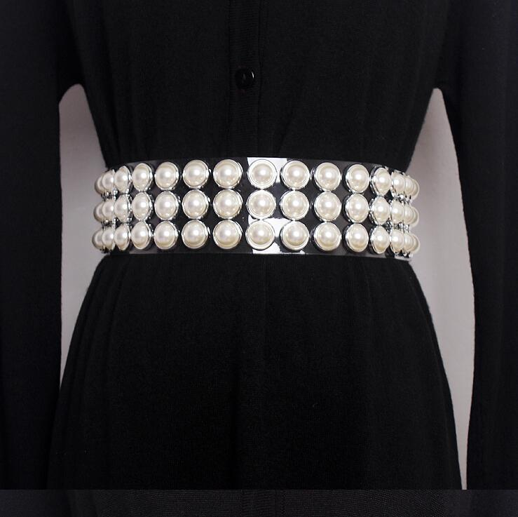Women's Runway Fashion Diamonds Pearl Beaded Pvc Cummerbunds Female Dress Corsets Waistband Belts Decoration Wide Belt R1636