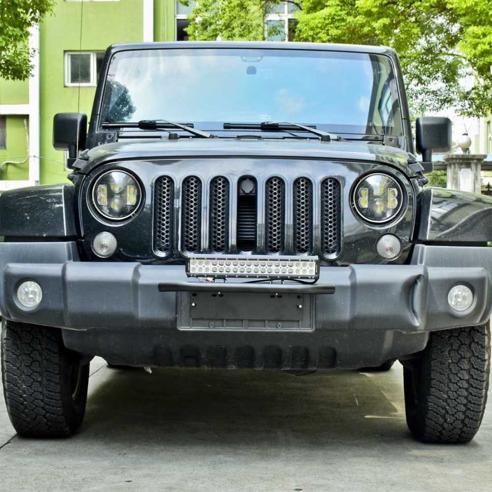Chuang qian chuang qian bull bar front bumper license plate mount chuang qian chuang qian bull bar front bumper license plate mount bracket holder offroad light bar for jeep wrangler jk in lamp hoods from automobiles mozeypictures Gallery