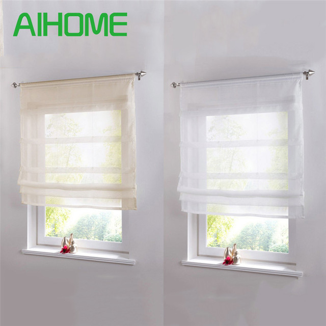 Pure Color Roman Venetian Blinds Balcony Kitchen Window Curtain Shower Wooden Pearl Decorative Bathroom