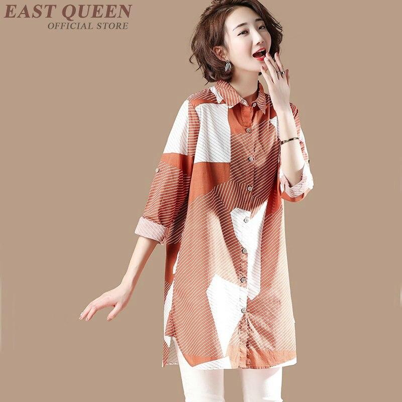 Chemise longue femme style chinois femmes vêtements blouse 2018 Long kimono femme dames femmes hauts et chemisiers KK2111 Y