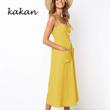 Kakan summer new womens dress sling button with pocket loose yellow red black