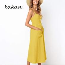 купить Kakan summer new women's dress sling button with pocket loose dress yellow red black dress дешево