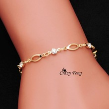 Crazy Feng New Romantic Bracelets Gold Color Bangle Trendy for Women Jewelry Anklet Austrian Crystal Link Chain Simple Design
