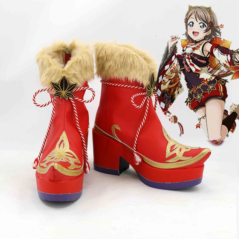 LoveLive!Sunshine Aqours Takami Chika Sakurauchi Riko Matsuura kanan Kurosawa Dia Watanabe You Cosplay Shoes Boots Maple Leafs