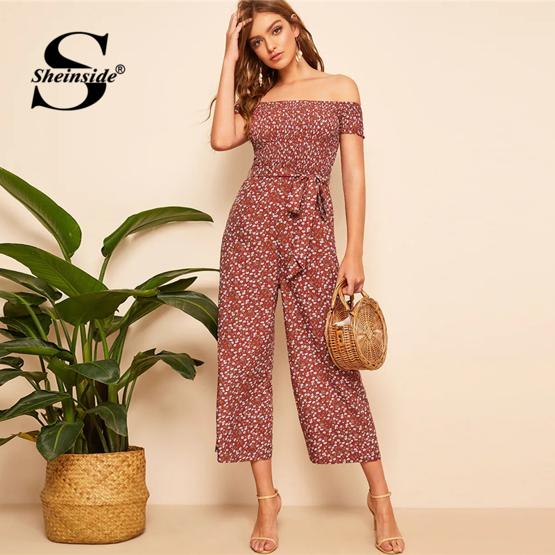 Sheinside Casual Floral Print Wide Leg   Jumpsuit   Women Off the Shoulder Boho   Jumpsuits   2019 Summer High Waist Belted   Jumpsuit