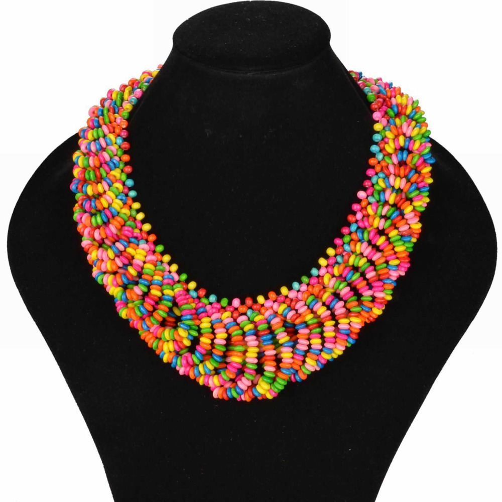 2015 New Style Bohemian Necklace for Women Colorful Choker Wood ...