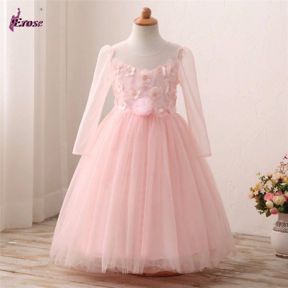 Castillo de Hadas Flor Niñas Mangas Largas Blush Pink Party Vestido ...