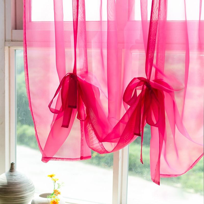 O envio gratuito de cor sólida gaze Romanos Continental curta meia-janelas e varanda cortina terminou telas haste de cortina desgaste