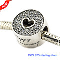 Fits Pandora Bracelets Anniversary Celebration Silver Beads With Clear CZ 100% 925 Sterling Silver Charms DIY Jewelry 08445