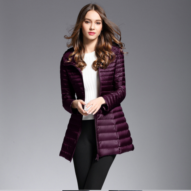 Navy/red/purple/black Winter Plus Size Womens long   Down   Jackets Ultra Light Duck   Down     Coat   Puffer Jacket Slim Autumn Parkas lady