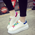 Women Casual Walk Shoes Breathable Luxury Brand Canvas Shoes Women Lace-Up Rainbow Shoes Flats For Girl Students 2016 New